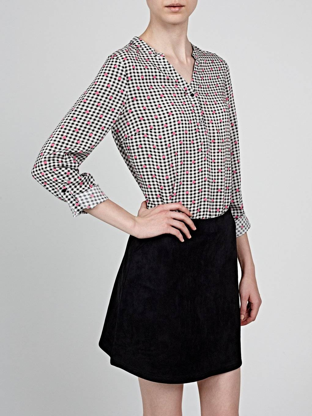 Heart print gingham blouse