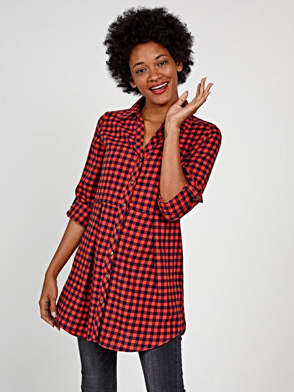 Longline cotton gingham shirt