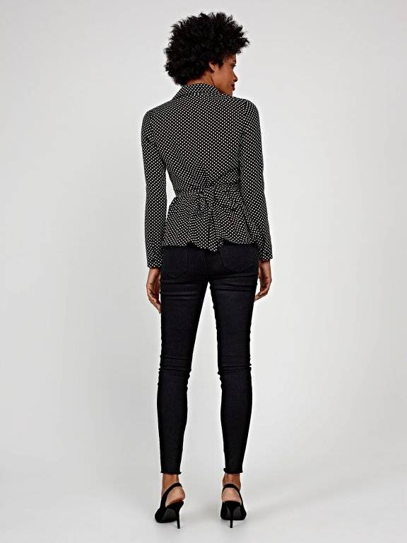 Polka dot peplum blouse with belt