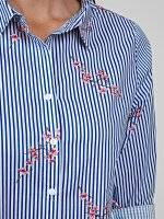 Striped cotton shirt with floral print