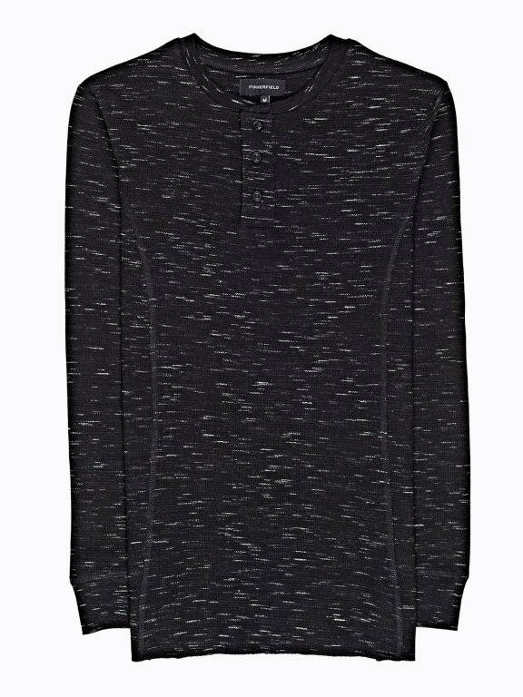 MARLED WAFFLE-KNIT HENLEY WITH LONG SLEEVE