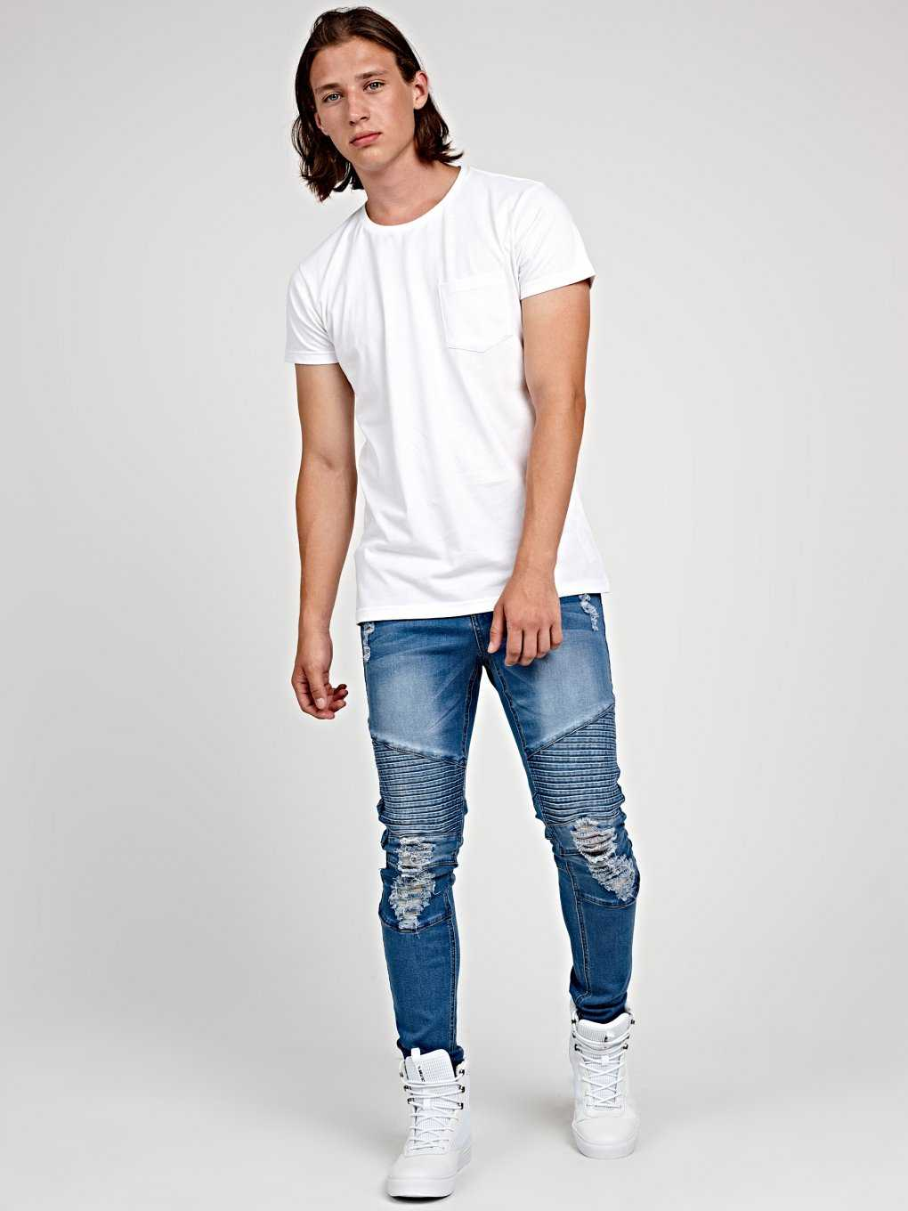 Biker slim fit jeans in mid blue wash