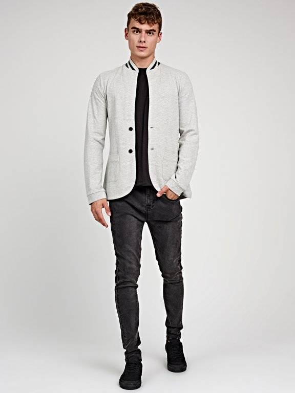 BOMBER-LIKE KNIT BLAZER