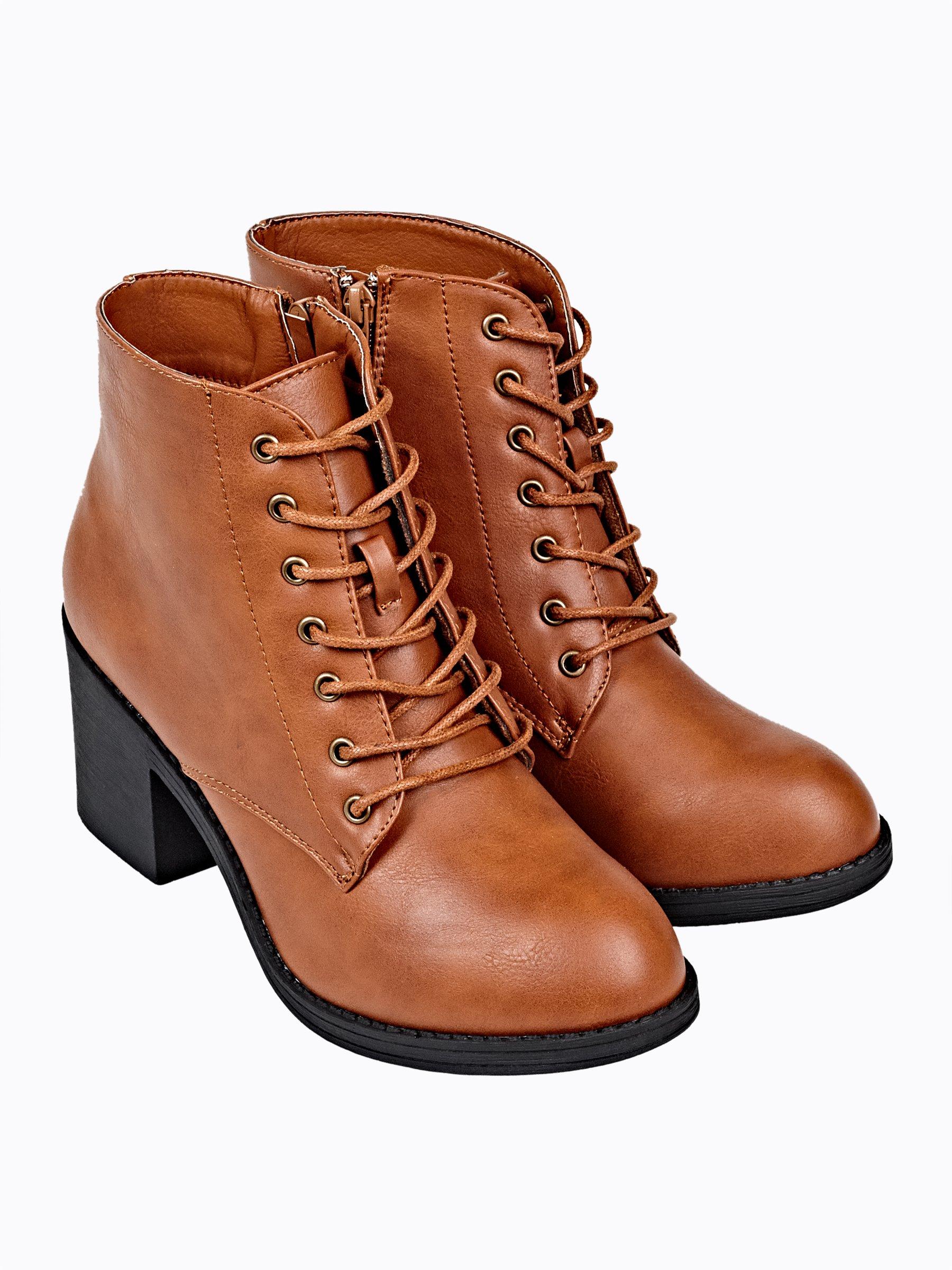 6cd410aca30c87 Sznurowane buty do kostki na obcasie | GATE