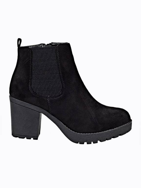 High heel ankle boots with track sole