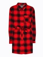 Longline plaid viscose shirt with belt