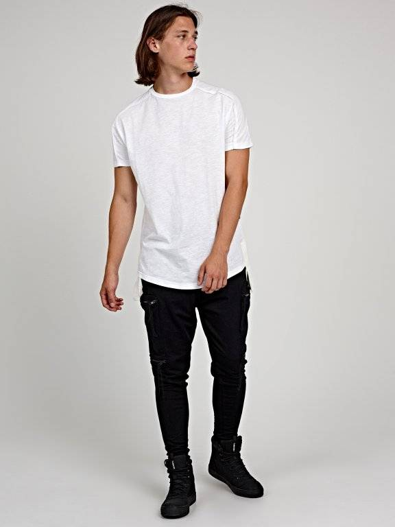 Longline t-shirt with side tapes