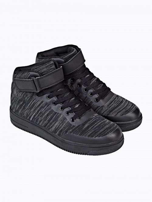 Marled high-top lace-up sneakers
