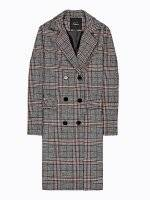 Longline double breasted plaid coat