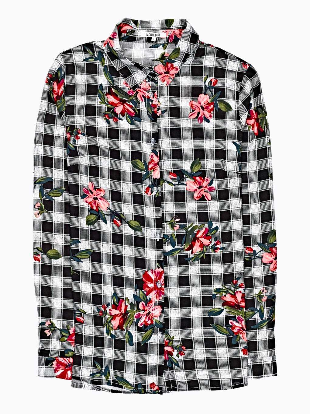 Gingham viscose shirt with floral print