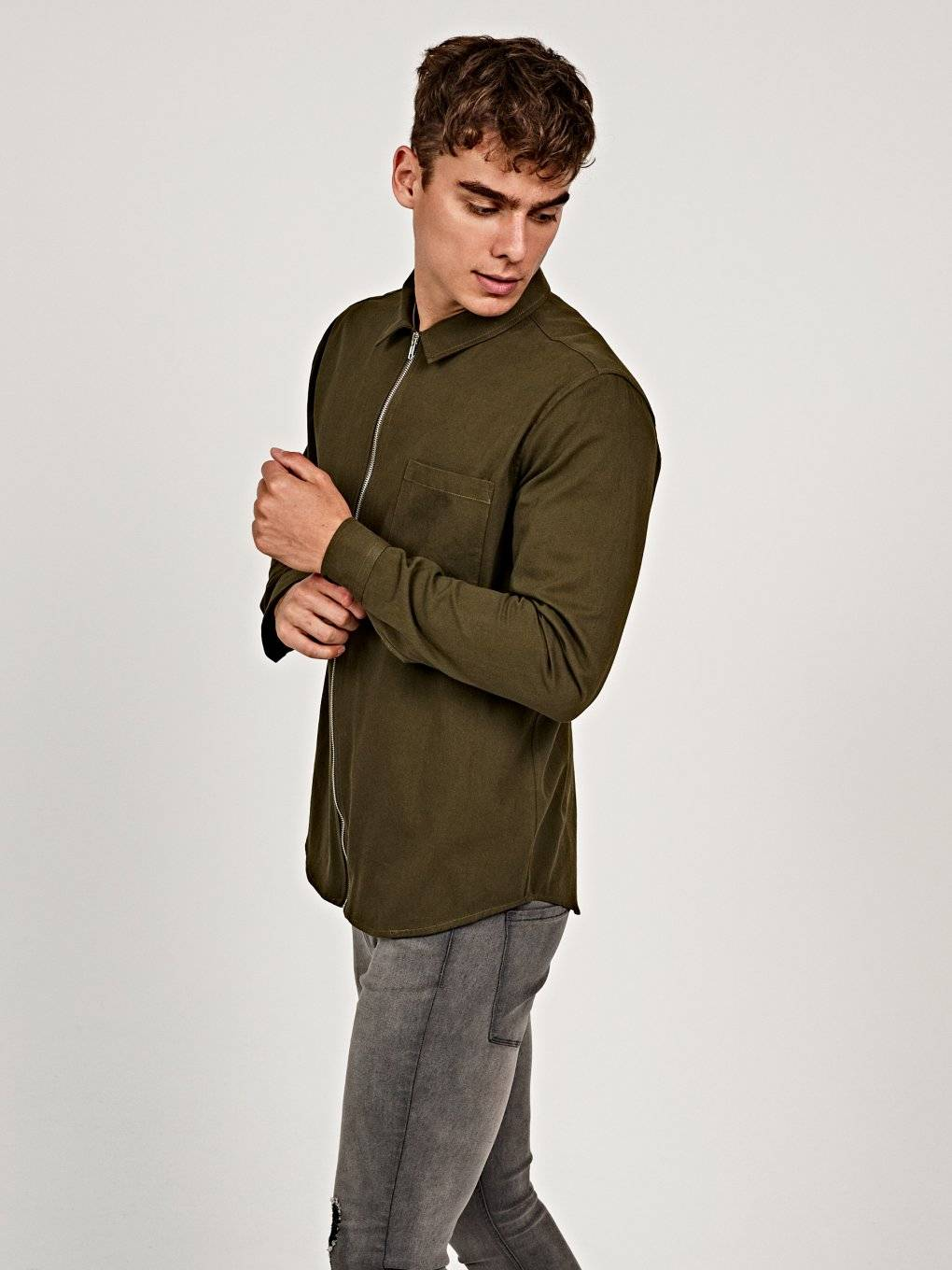 REGULAR FIT COTTON SHIRT WITH ZIPPER