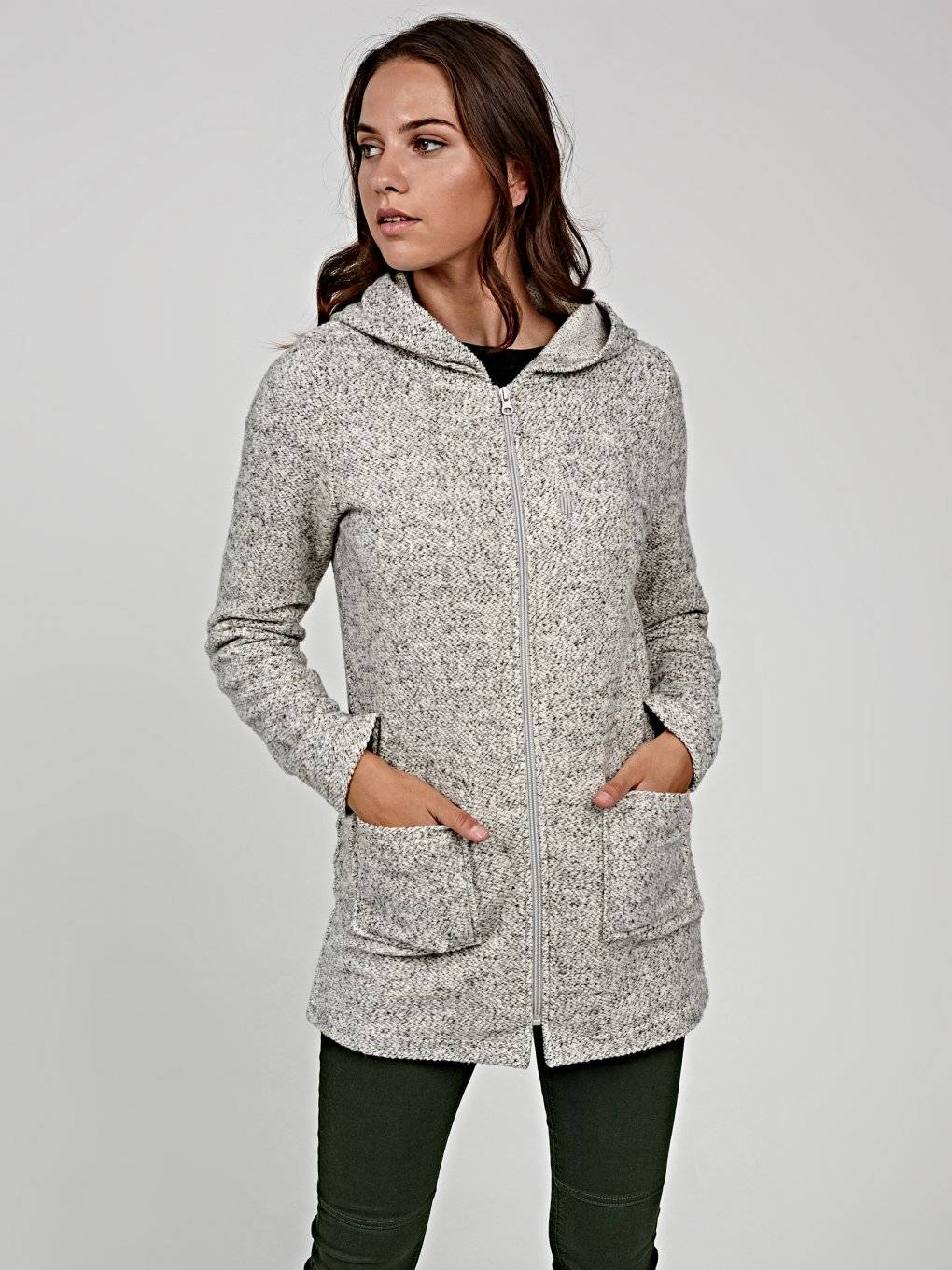 Marled jacket with hood