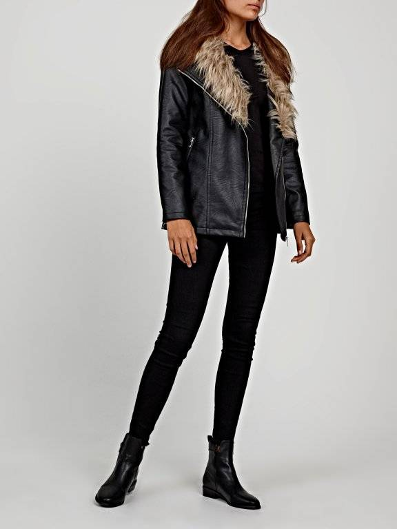 Longline biker jacket with remavable faux fur collar