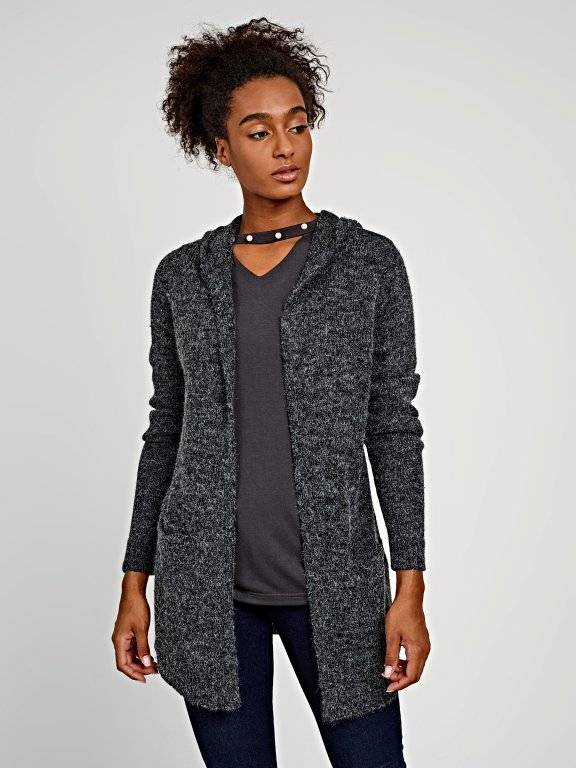 LONGLINE MARLED CARDIGAN WITH HOOD