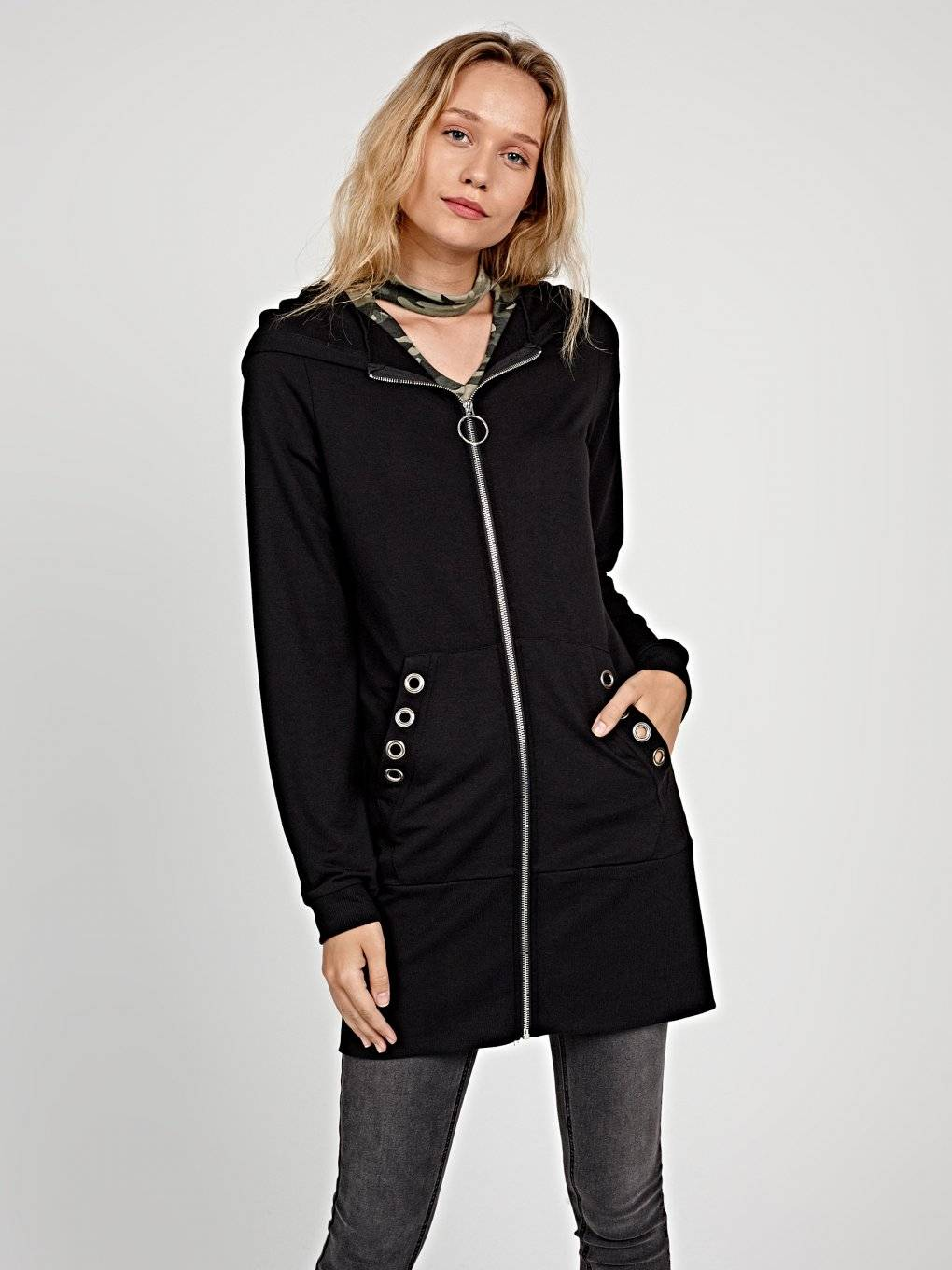 LONGLINE ZIP-UP HOODIE WITH METAL EYELETS