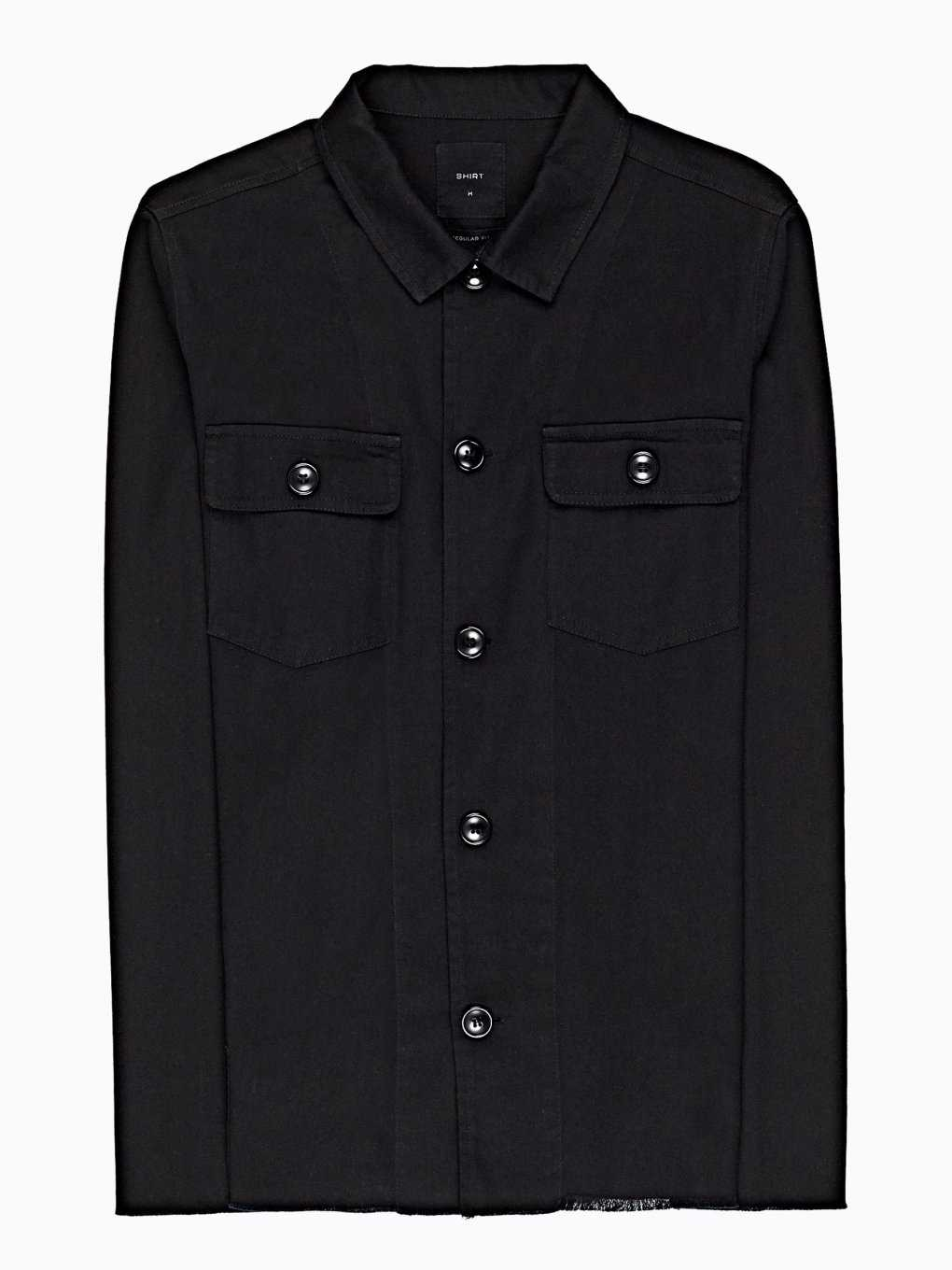 Regular fit shirt with raw hem