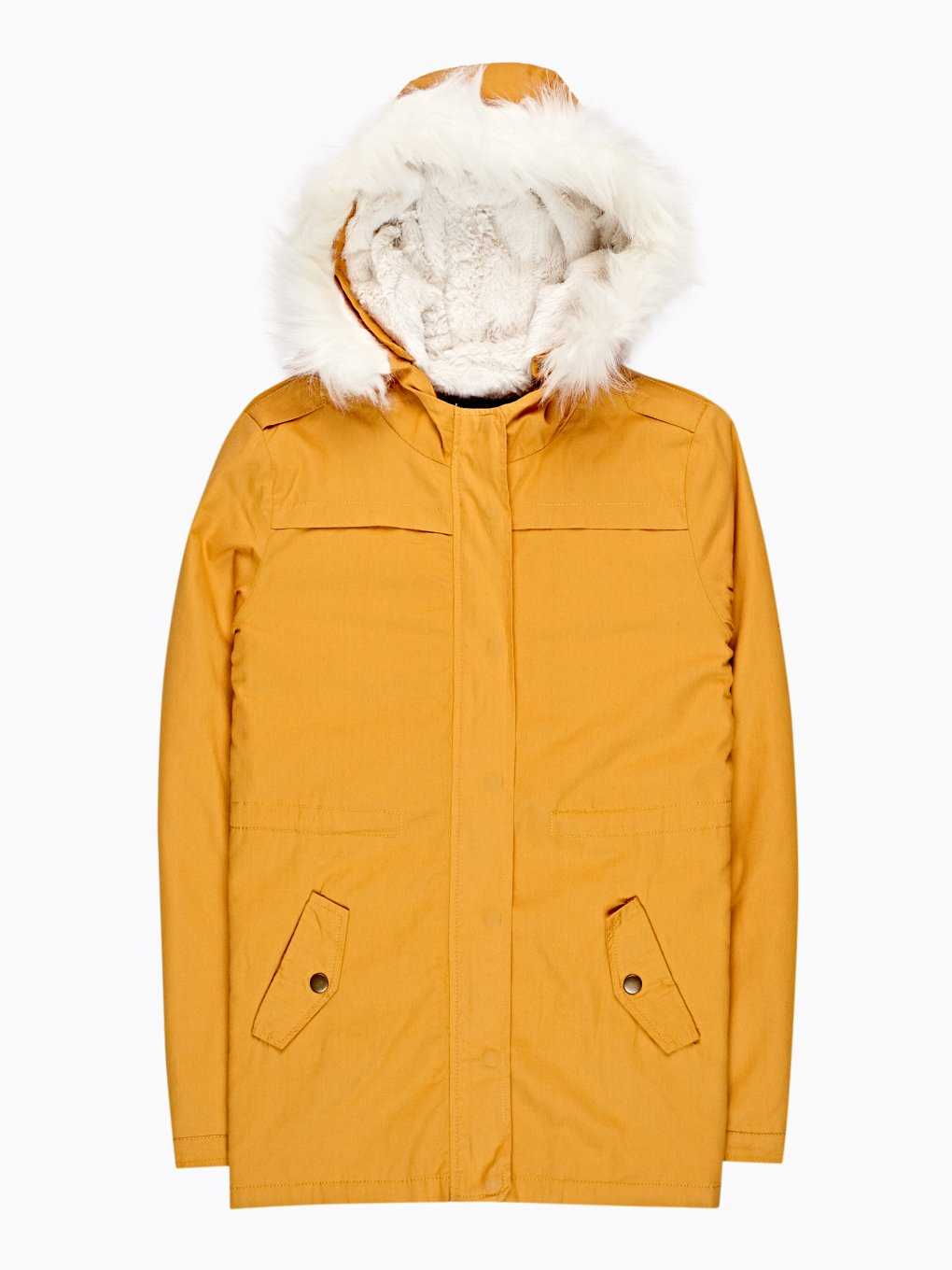 Cotton parka with pile lining and removable faux fur