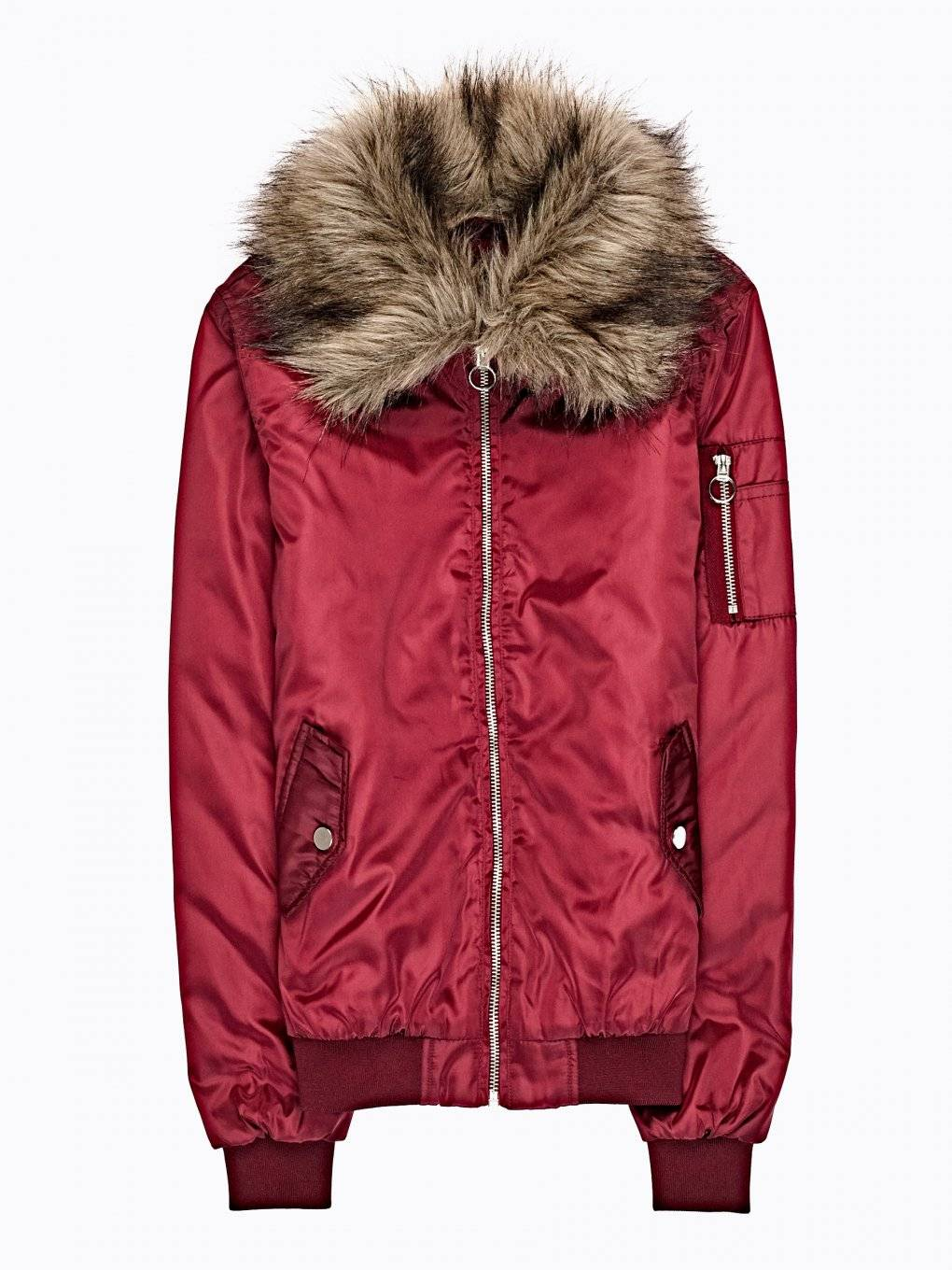 Light padded bomber with removable faux fur