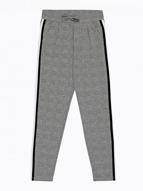 Plaid carrot fit trousers with side tape
