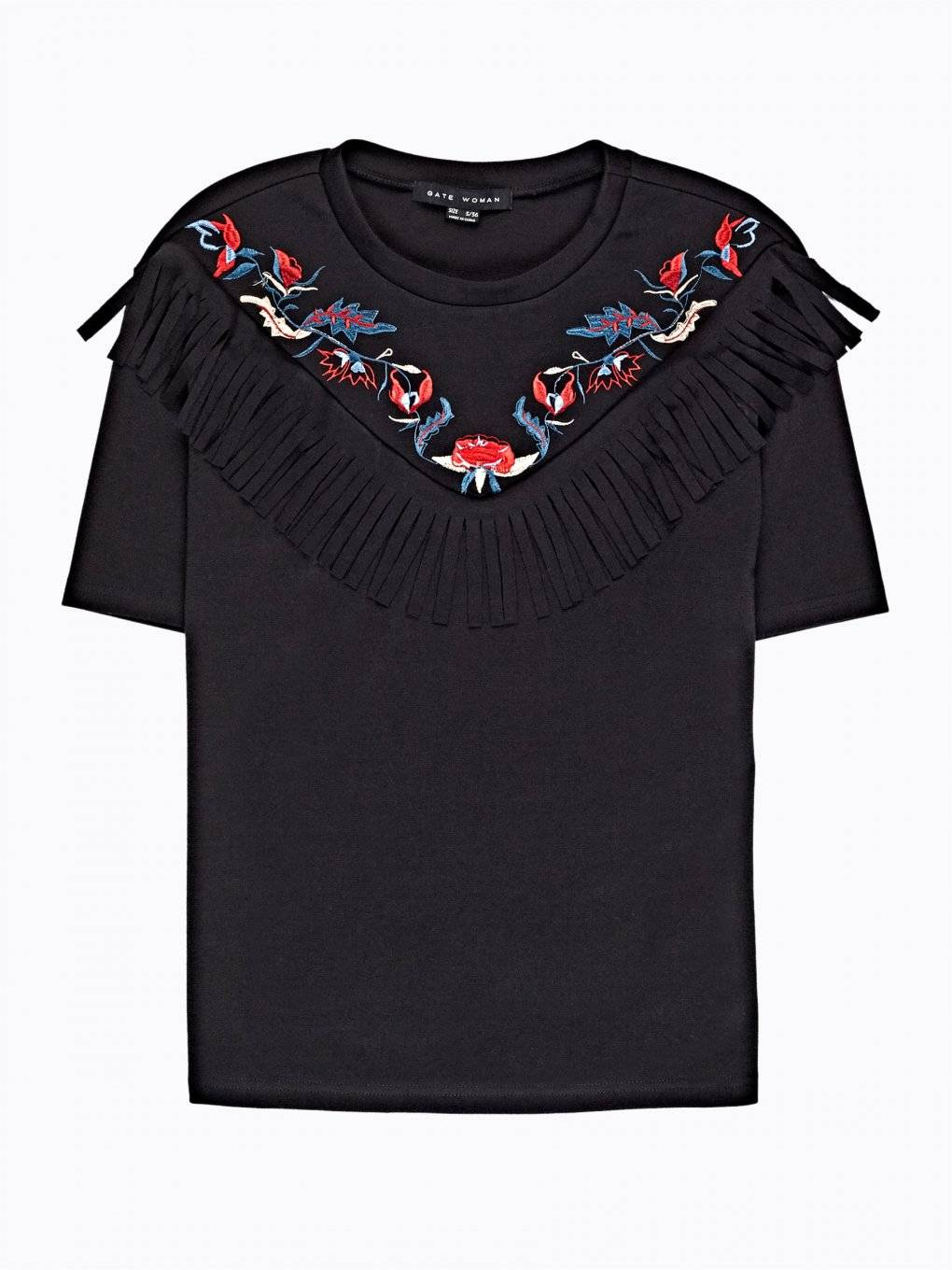 Embroidered top with tassels