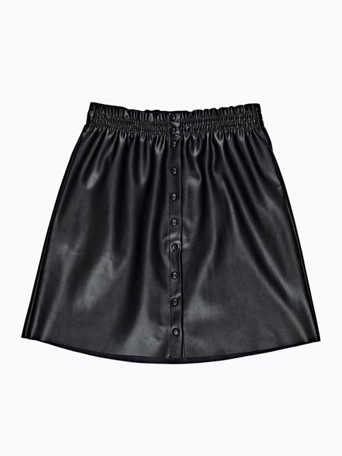 Button up faux leather mini skirt