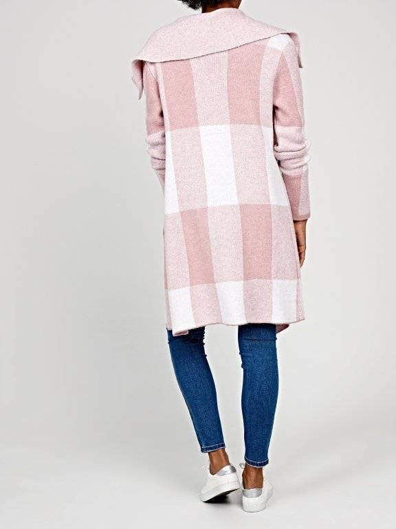Longline plaid cardigan