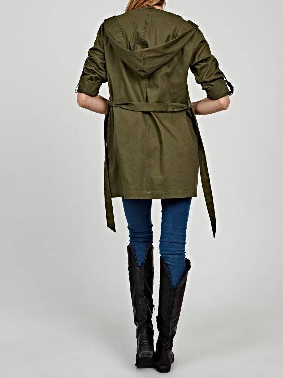 HOODED JACKET WITH BELT