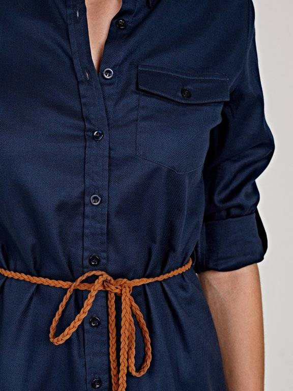 Longline cotton shirt with belt