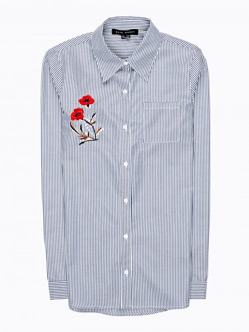 Striped shirt with flower emroidery