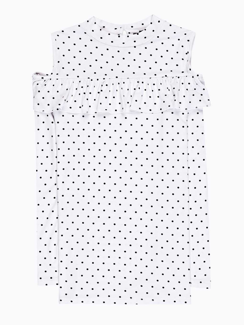 Cold-shoulder polka dot print top with ruffle