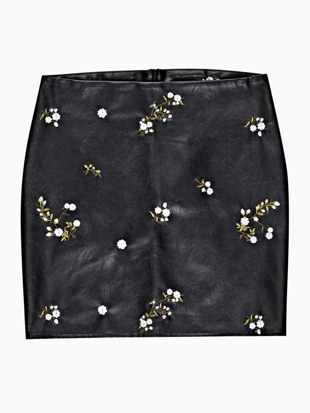 Faux leather mini skirt with floral embroidery