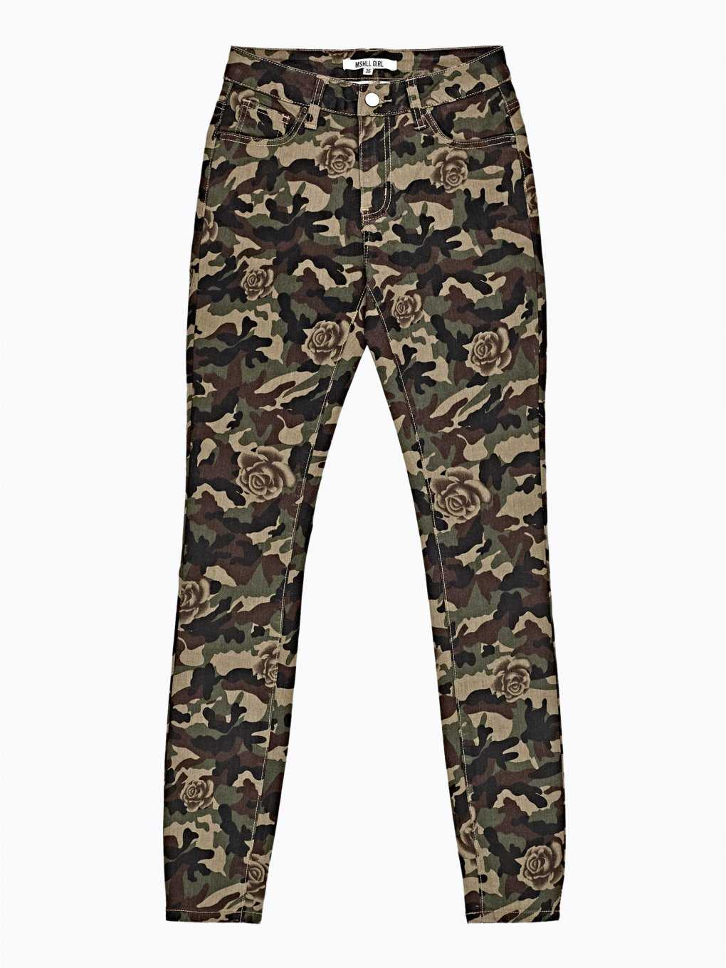Camo & flower print skinny trousers