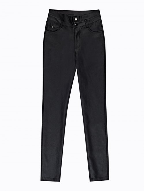 SKINNY HIGH-WAIST TROUSERS WITH PU COATING