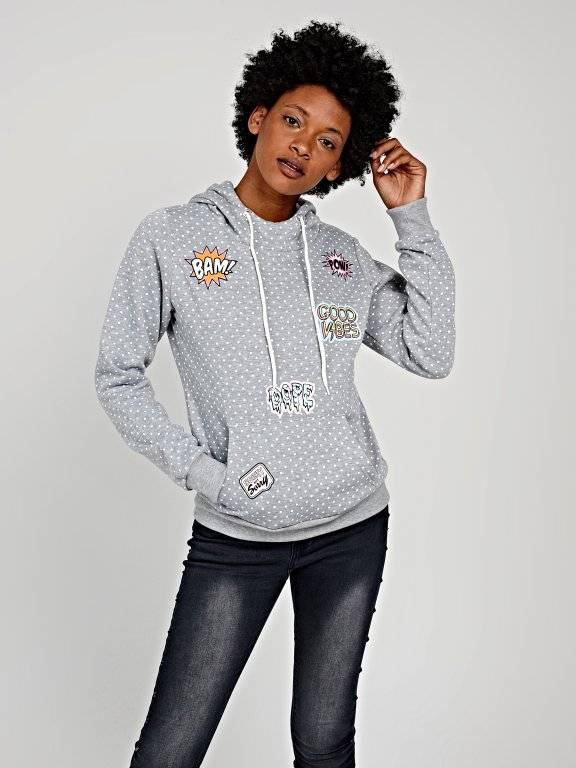 POLKA DOT PRINT HOODIE WITH PATCH PRINTS