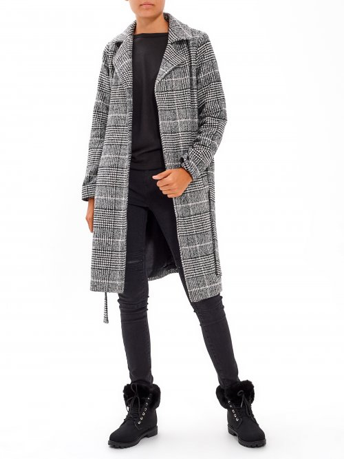 Plaid duster coat with belt