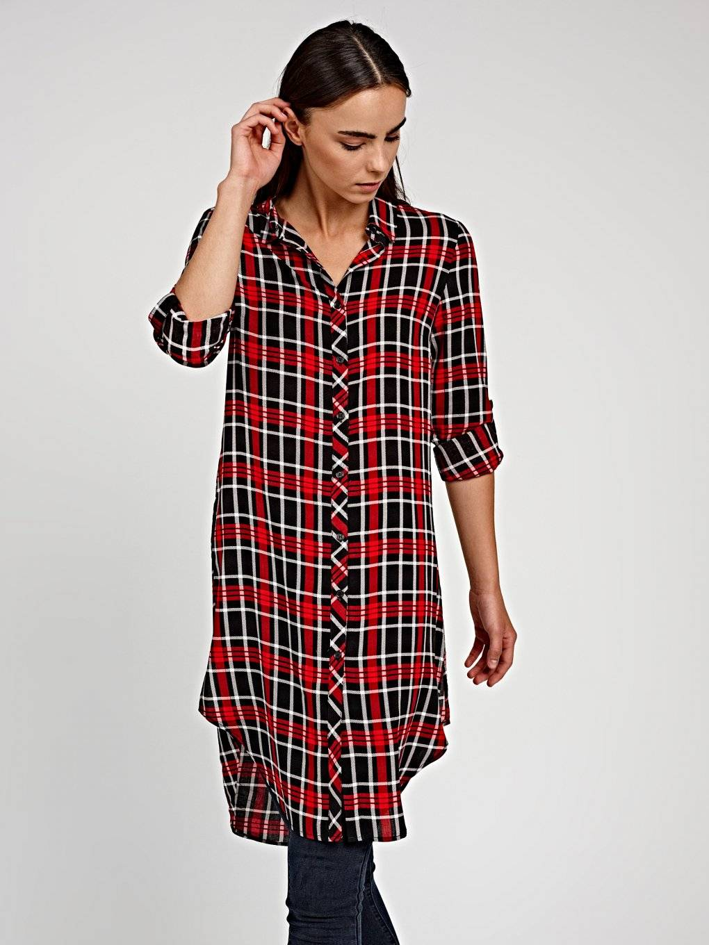 Longline viscose plaid shirt