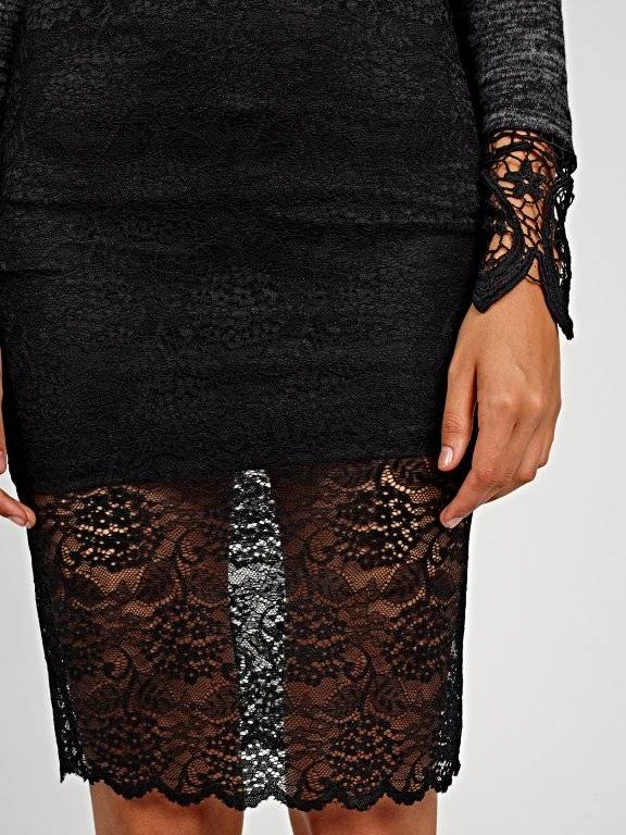 Bodycon lace midi skirt