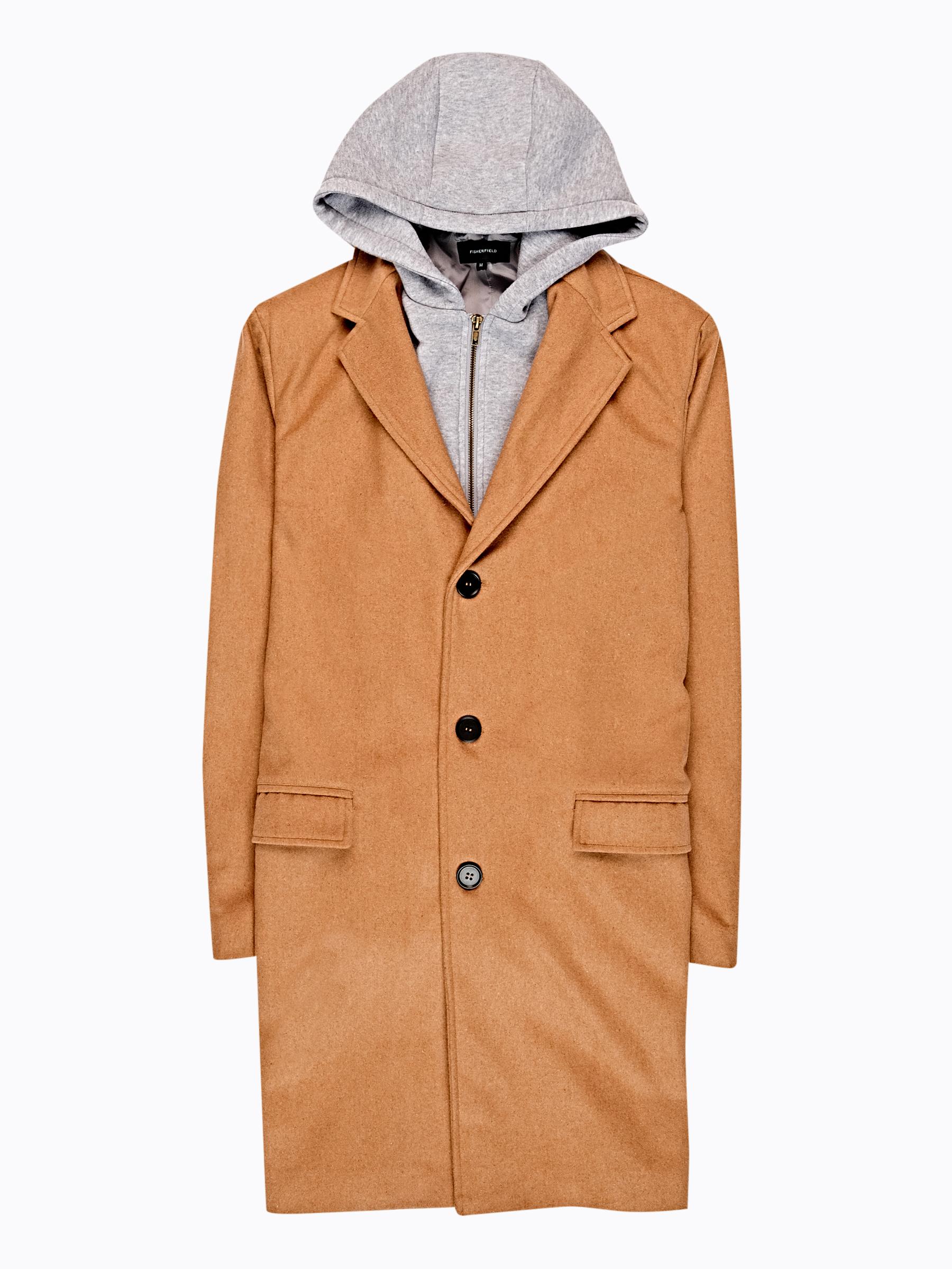 GATE Dlhý kabát s odopínateľnou kapucňou