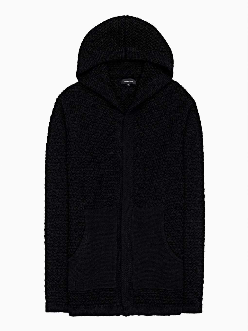 Longline zip-up cardingan with hood