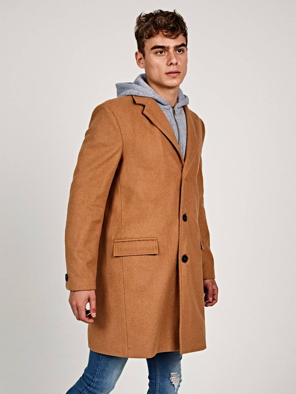 Longline coat with removable hood