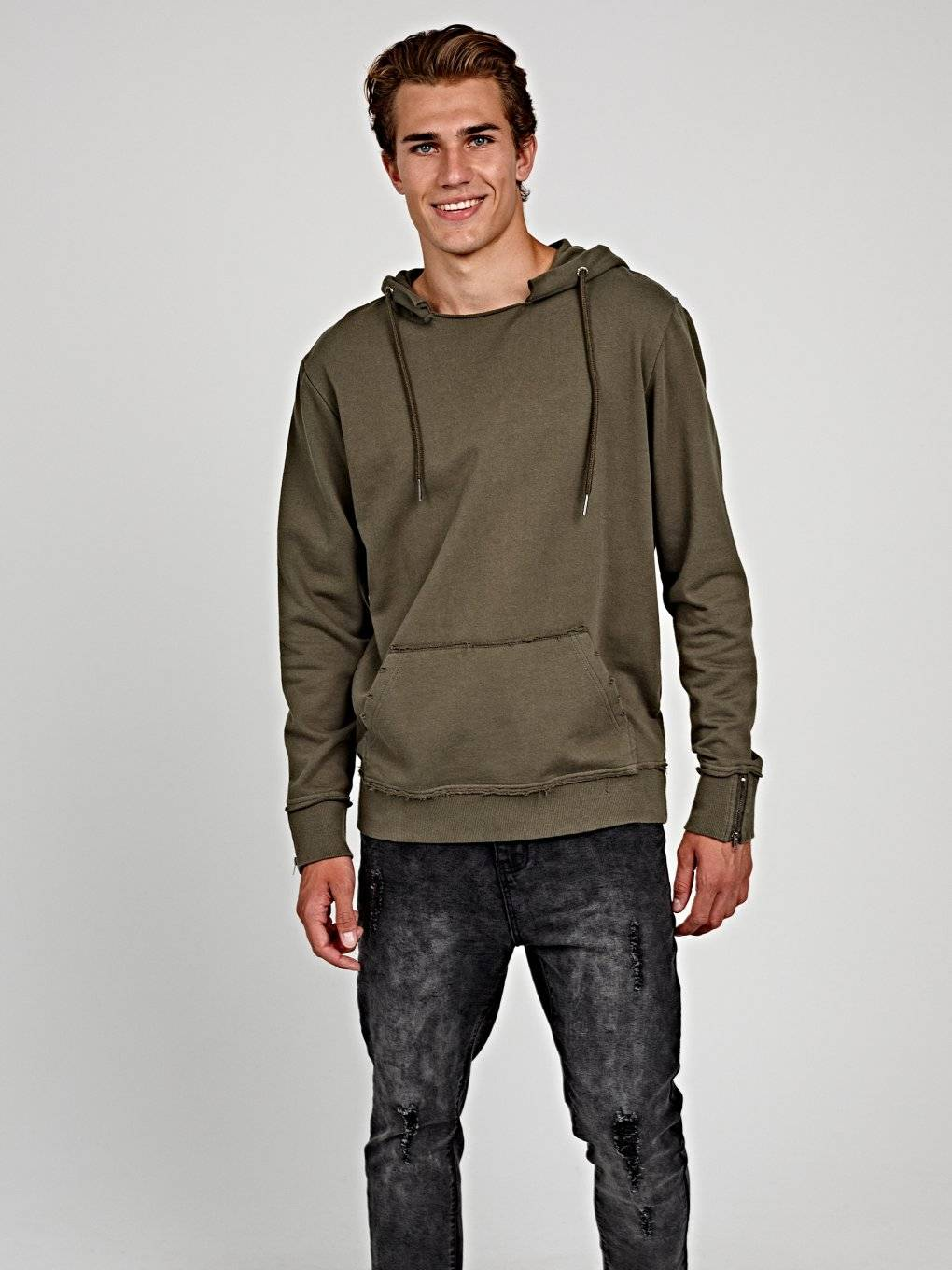 HOODIE WITH RAW EDGES