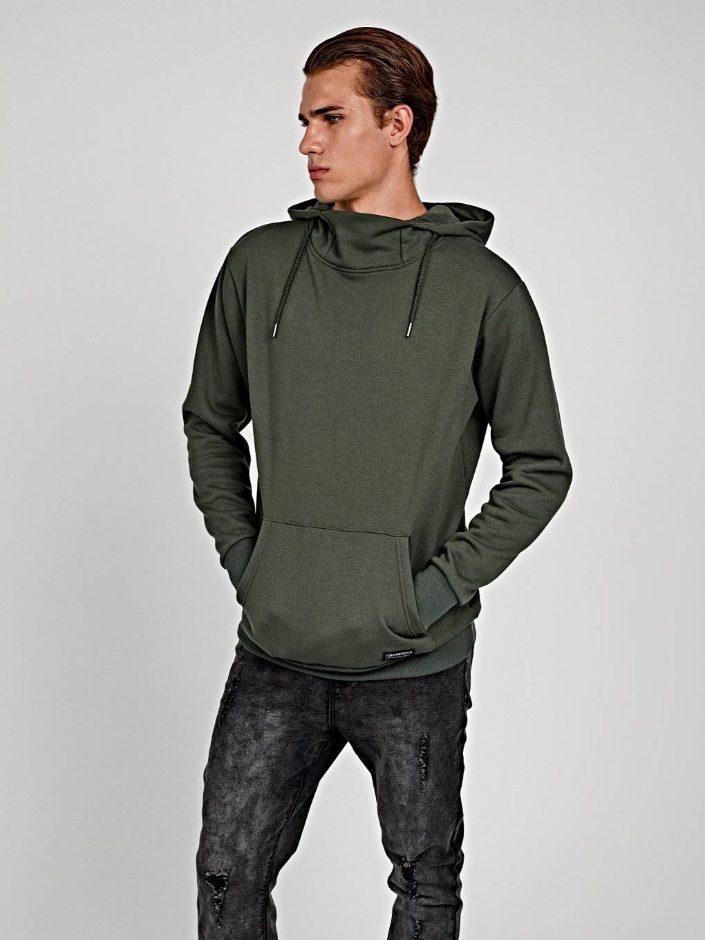 Hoodie with stand-up collar