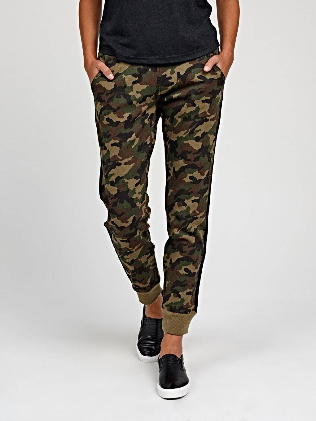 Camo print jogger fit trousers with side tape