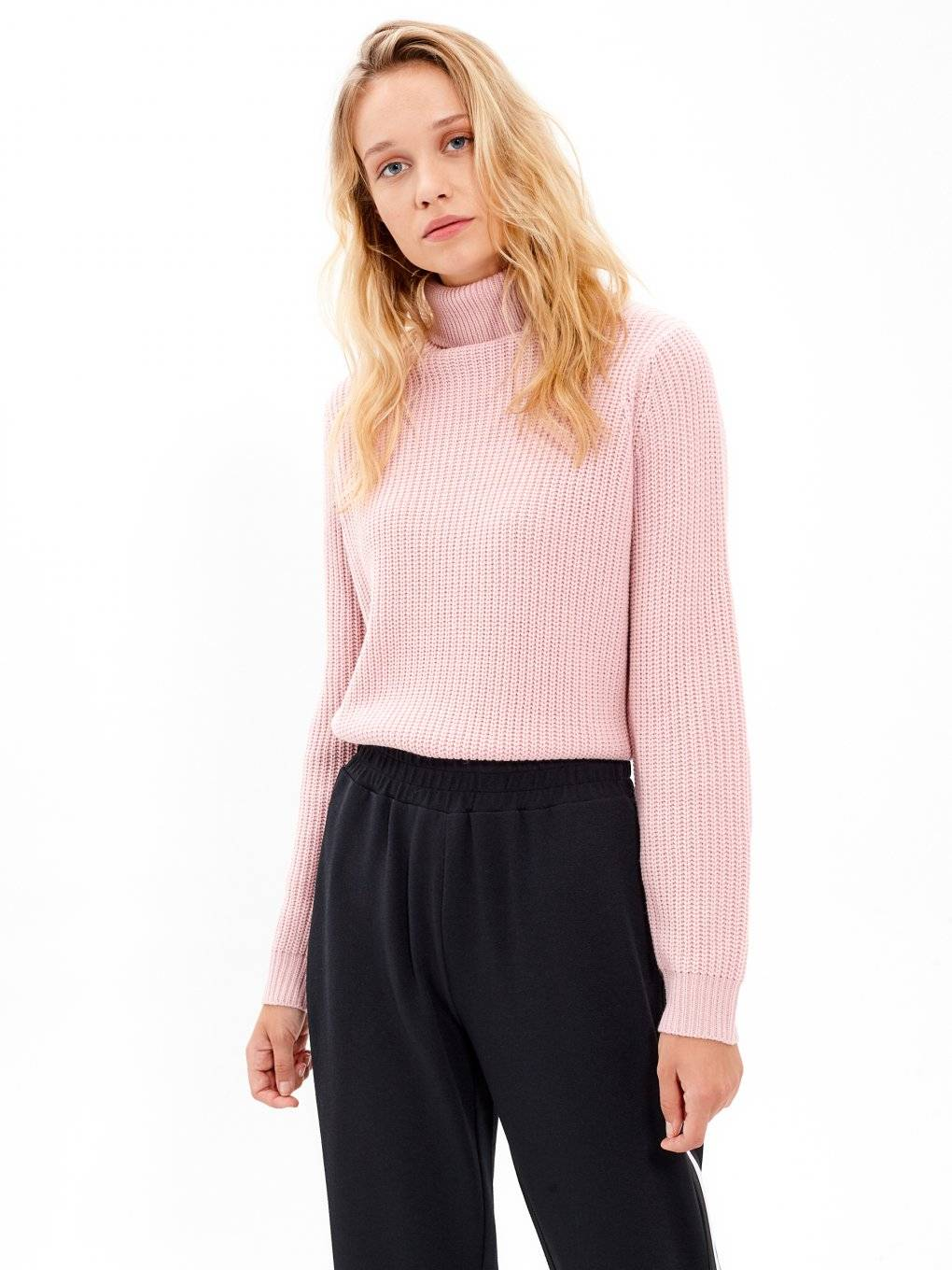 Turtle neck rib-knit jumper