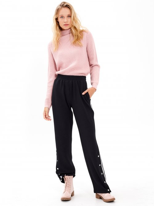WIDE LEG TROUSERS WITH SNAP BUTTONS