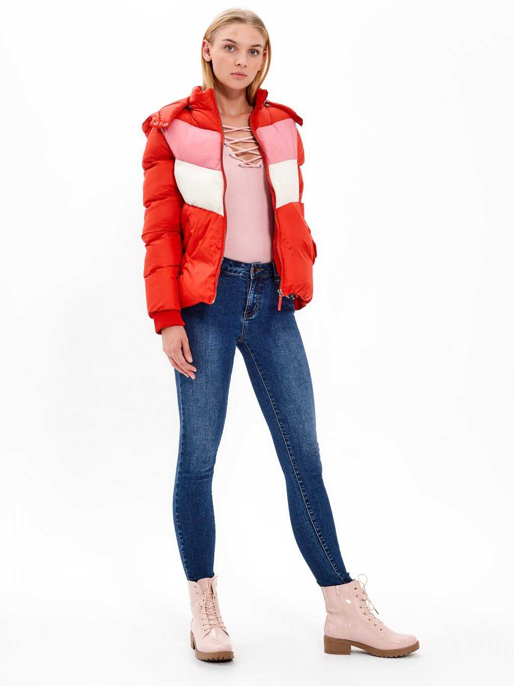 Quilted padded colour block jacket