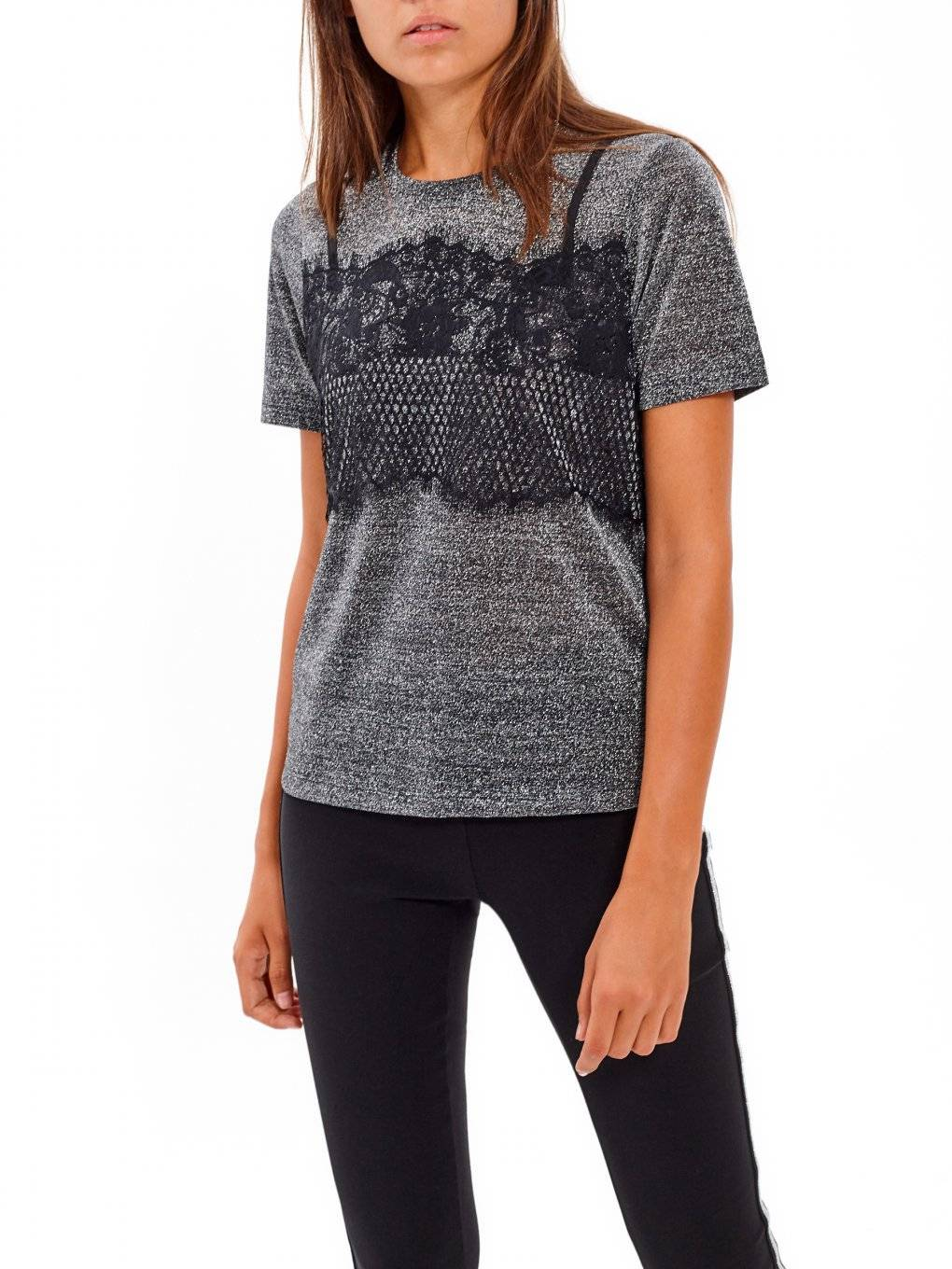 METALLIC TOP WITH LACE DETAIL