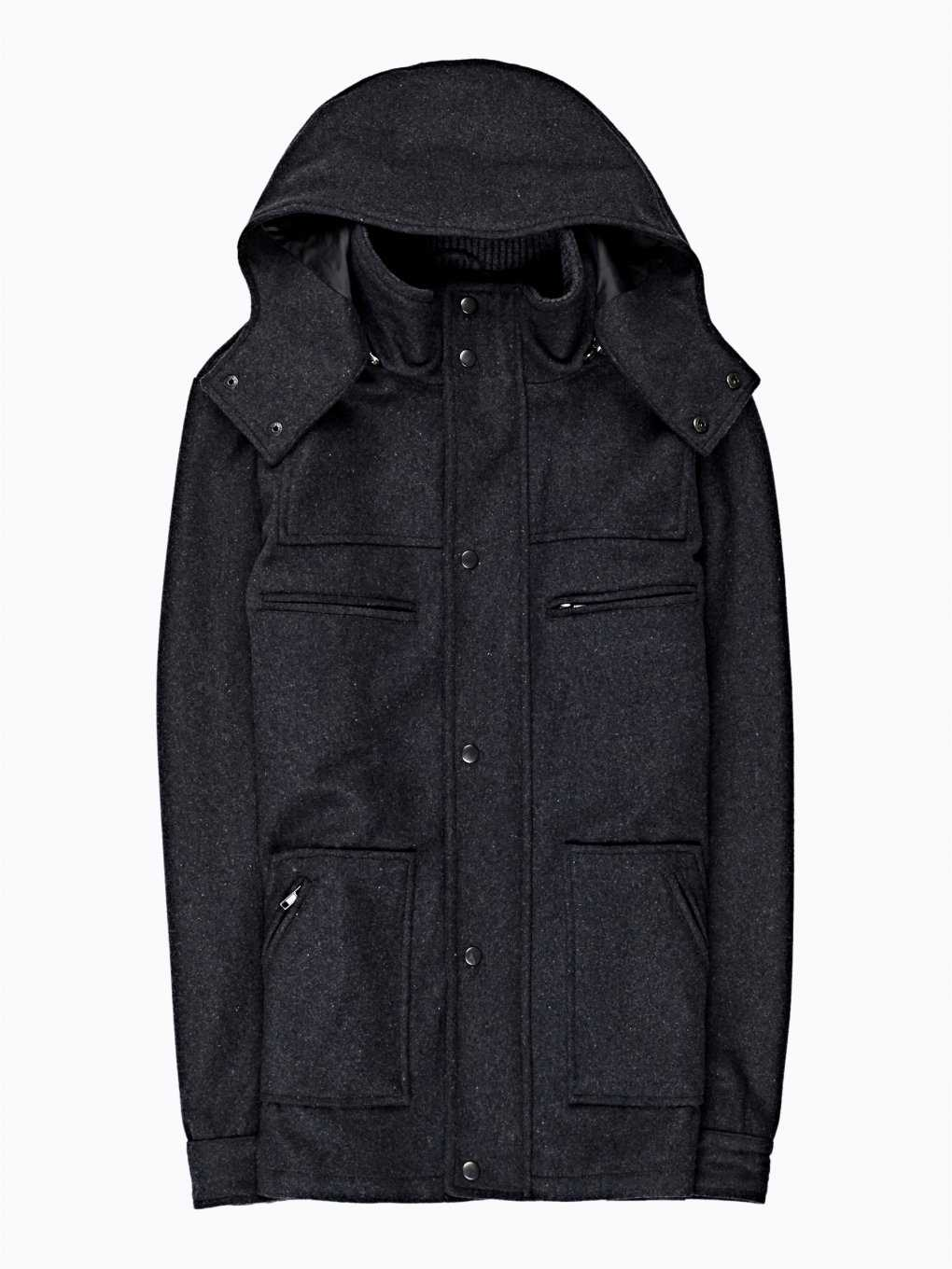 HOODED COAT IN WOOL BLEND