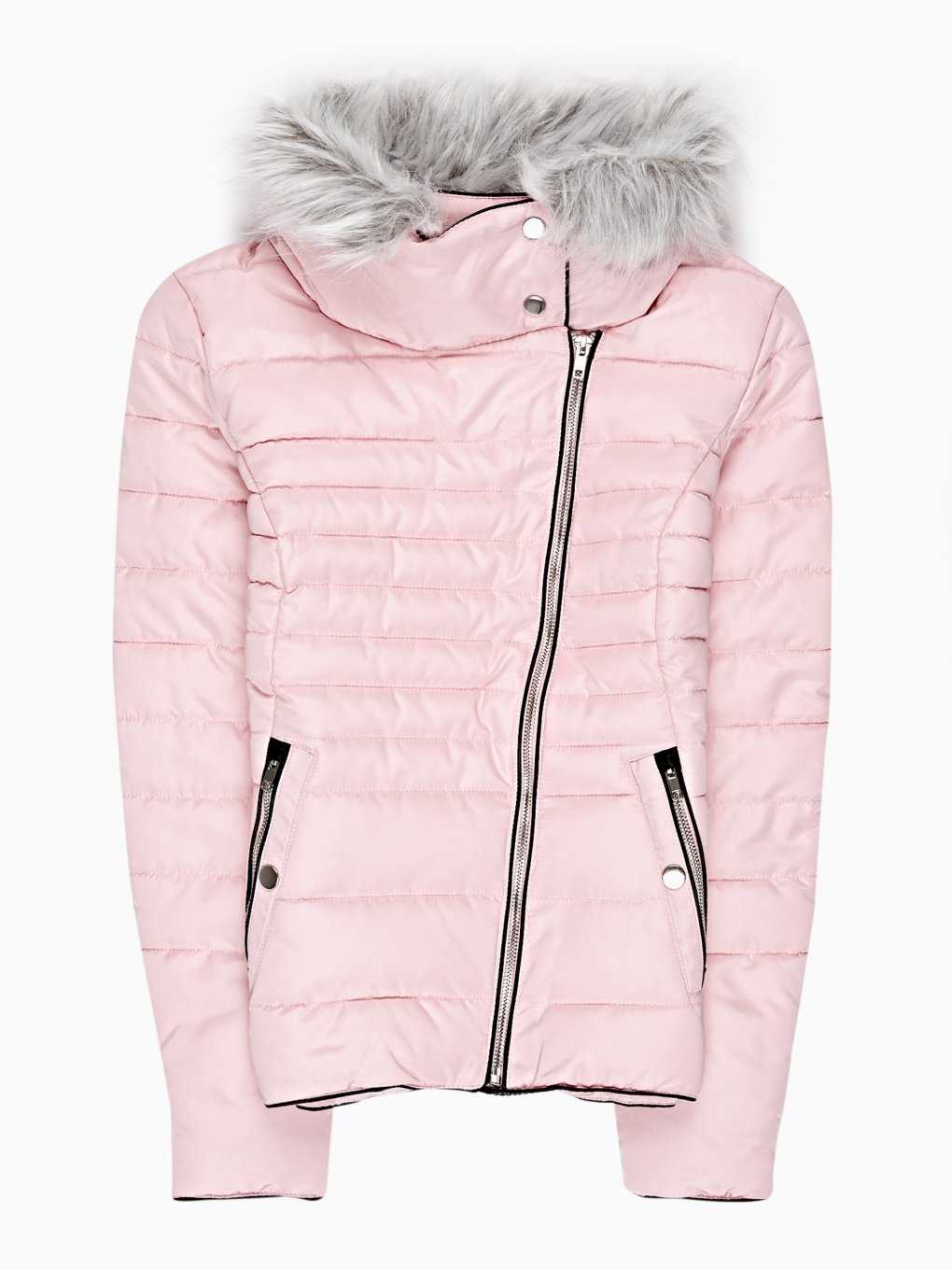 Quilted padded jacket with fur collar