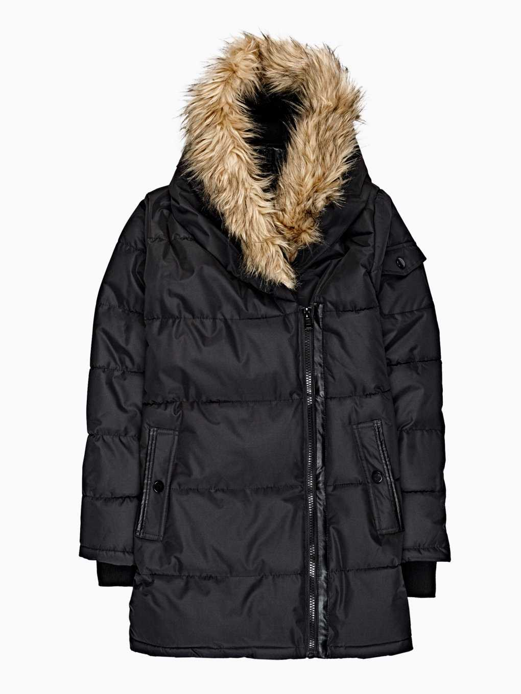 Longline quilted padded jacket with hood